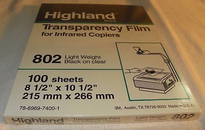 Highland Transparency Film for Infrared Copiers 802 Light Weight Black on Clear
