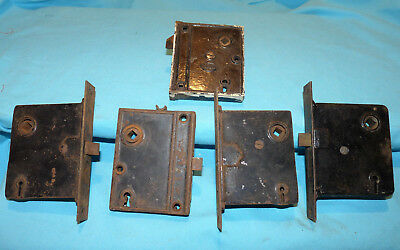 5 Antique Vintage Mortise Lock Door Latches, 3 with Face Plates, 1 Corbin