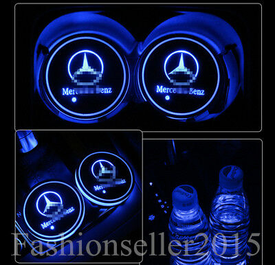 2x for Mercedes-Benz LED Car Cup Holder Pad Mat Auto Interior Atmosphere Lights