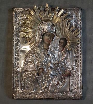 Antique 18th -19th century Russian Icon In Silver Of Mother of God Tikhvinskaya