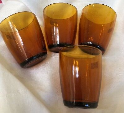 Vintage Retro Set 4 AMBER DURAX DRINK GLASSES Argentina 1970s