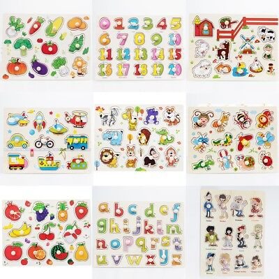 Kids Wooden Peg Jigsaw Puzzles Baby Toddler Preschool Educational Toy Gifts EU