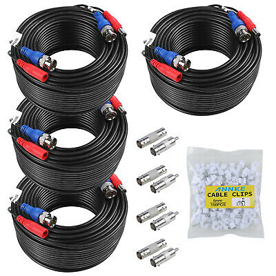 ANNKE 4pcs 30M 100FT CCTV Camera DVR Video DC Power Security Surveillance Cable