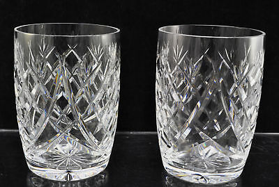Pair of Waterford Cut Crystal Donegal 4 1/2 Inch 12 oz Flat Tumblers