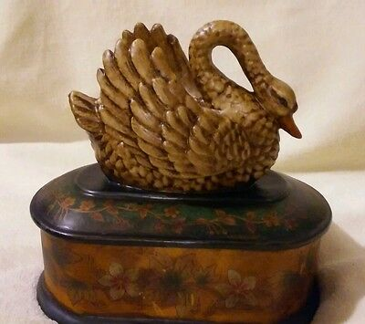 "Swan Trinket Box Figurine 8.5"" Decorative Container Porcelain Jewelry Rare Vtg"