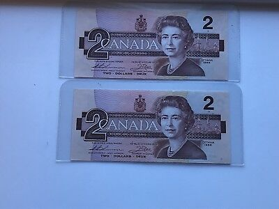 1986 $2 Two Dollar Bank of Canada BankNote Consecutive x 2 CBH Thiessen & Crow