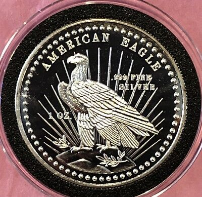 1982 American Eagle World Wide Mint 1 Troy Oz .999 Fine Silver Round Proof Coin