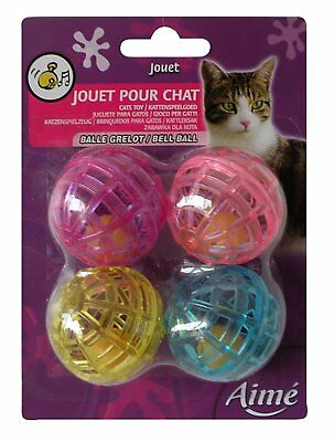 Aime Bell Ball Cat Toys Pet Cat Kitten Fun Play Boredom Breaker Toy Pack of 4
