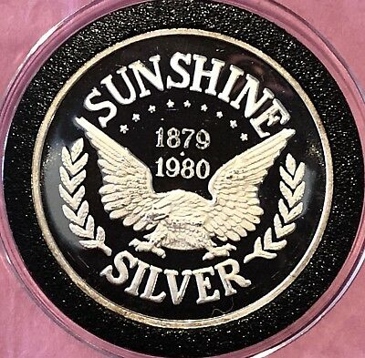 1980 Sunshine Mint Vintage Proof Coin 1 Troy Oz .999 Fine Silver Round Medal 999