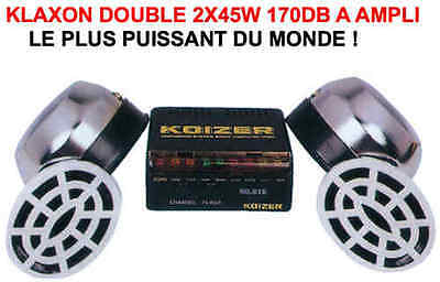 Klaxon Double Chromé Ampli 2X45W 170db MOTO TRIAL TRAIL QUAD BUGGY RZR