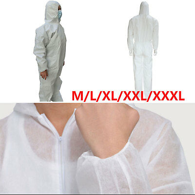 White Disposable Coveralls Overalls Boilersuit Hood Painters Protective Suit AU