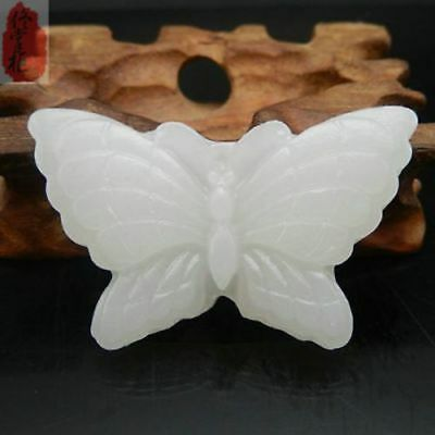 Natural hand-carved Afghanistan white jade butterfly pendant + rope necklace