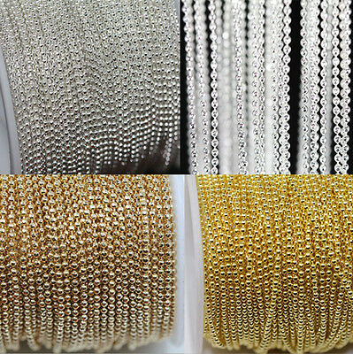 2/5M Silver Gold Plated Metal Round Beads Chain Jewelry Necklace Bracelet Making