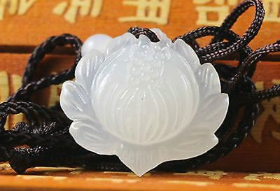 Chinese natural hand-carved white jade lotus amulet lucky pendant necklace
