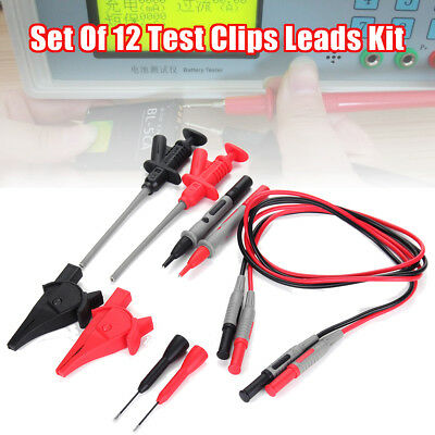 Test Clips Leads Kit Fluke Multimeter Heavy Duty Banana Tester Probe Set Of 12