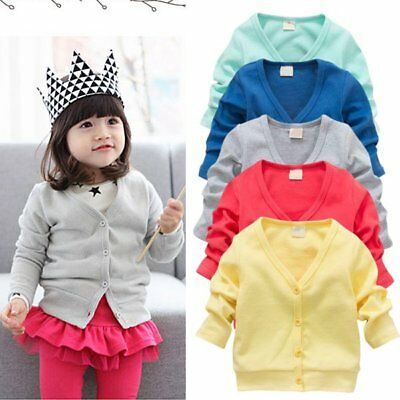 Kids Baby Boy Girl Autumn Casual V-neck Cardigan Long Sleeve Knot Outerwear Coat