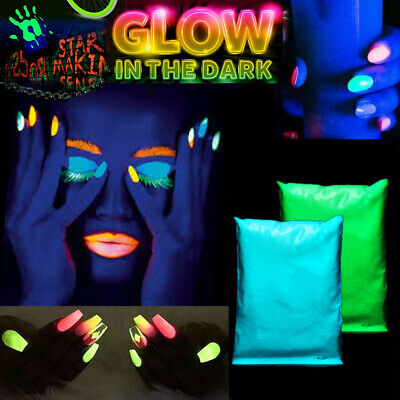 50g GLOW IN THE DARK POWDER LUMINESCENT ACRYLIC NAIL PAINTING NEON FLUORESCENT