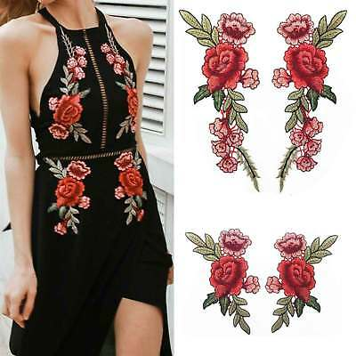 1Pair Embroidered Fabric Patches Rose Flower Applique Badge Floral Patch Craft