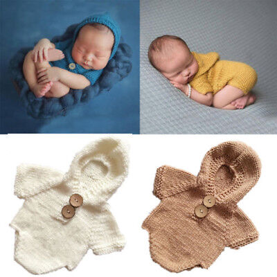 Newborn Baby Boys Girls Knit Crochet Hooded Romper Photo Photography Prop Outfit