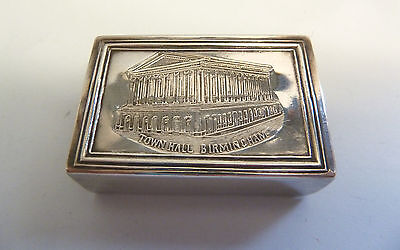 BIRMINGHAM TOWN HALL Solid SILVER Matchbox Cover. Birm 1902. Levi & Salaman