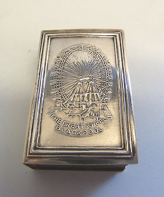THE GREAT WHEEL BLACKPOOL Solid SILVER Matchbox Cover. Birm 1903. Levi & Salaman
