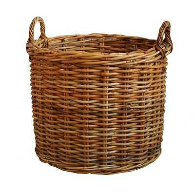 Honey Rattan Round Wicker Log Basket Fireplace Wood Storage Fire Kindling Large