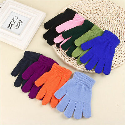 One size Navy Unisex Kids Winter Warm Stretch Gloves Solid Color Knitting Gift