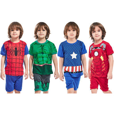 Kids Boys Hulk Costume Pajamas Children Superhero Sleepwear Summer 2Pcs Outfits