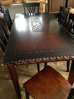 Elegant dining table with 6 chairs. 71 inch long, 35 width, 30 high