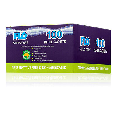 NEW Flo Saline Wash Refills Sinus Care Refill 100 Sachets Cold Flu Treatment