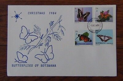 Botswana 1984 Christmas Butterflies set on First Day Cover