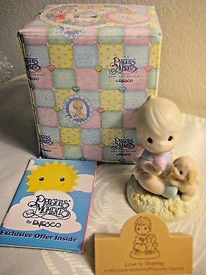 "1996 Precious Moments ""Love Is Sharing"" (272493) Baby Boy w/ Puppy, MIB (Heart)"