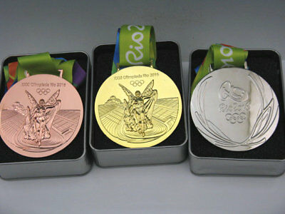 Rio 2016 Olympic Gold Silver Bronze Medals Set 1:1 & Silk Ribbons 85mm