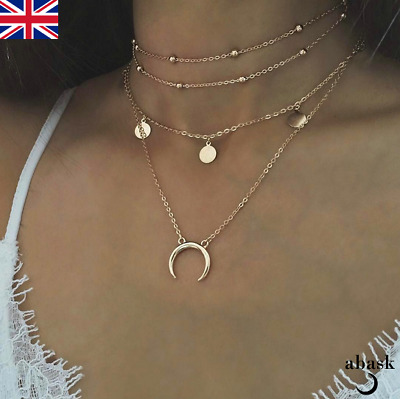 Layered Horn Choker Necklace Gold Silver Crescent Moon Double Horn UK Seller