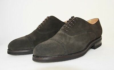 Man-8½Eu-9½Us-Oxford Captoe-Francesina-Dark Brown Suede-Rubber Sole-Suola Gomma
