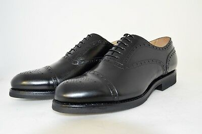 MAN-8½eu-9½us-OXFORD WINGTIP-FRANCESINA-BLACK CALF-VITELLO-VIBRAM RUBBER SOLE