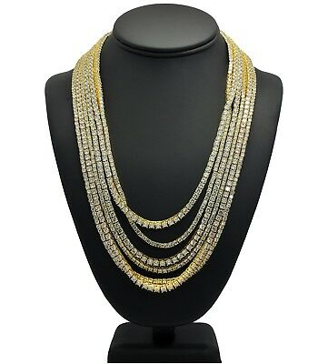 New Iced Out 14k Gold 1 Row Lab Diamond 3mm 4mm Tennis Chain Necklace