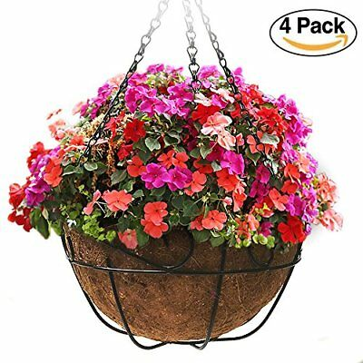 4 Pack Metal Hanging Planter Basket With Coco Coir Liner 12 Inch Round Wire P...
