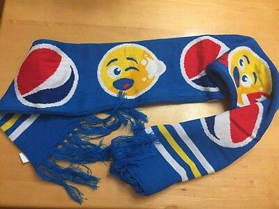Pepsi Emoji Blue Fringe Winter Scarf Red White Yellow Collectible One Size NEW
