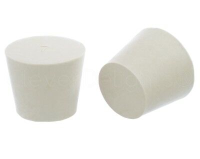 6 Pack - White Solid Rubber Stoppers - Size 7 - 37mm x 28mm x 30mm Long - Lab #7