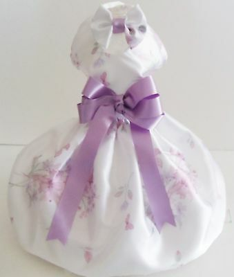 Dog  Harness/dress  Lavender And Pink  New With  Hair Bow  Free Shipping