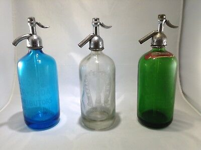 Vintage Seltzer Bottle Lot (3) Green, Clear and Blue Statue of Liberty  NY area