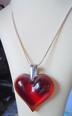 Lalique Stunning Red Large Heart With Hallmarked Silver  Chain New Boxed