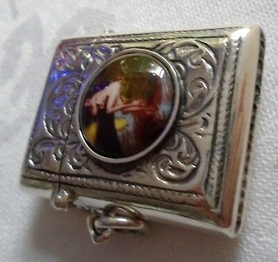Classical Style Saucy Risque Enamel Sterling Silver Vesta Case Match Striker