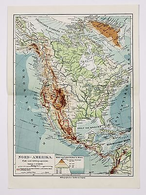 1907 North America Map Mountains & Rivers United States Canada Mexico Original