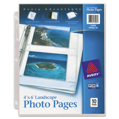 Avery Photo Storage Pages for Four 4 x 6 Horizontal Photos 3-Hole Punched 10/Pk