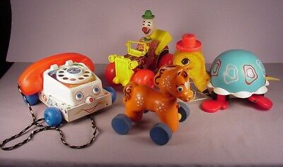 Vintage Fisher Price  woden pull toys 1960's Turtle, phone, Clown  car  Horse