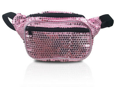 Sequin Pink Fanny Pack / Sparkle Glitter Shine Waist Bag / Fun 80's Retro Hip