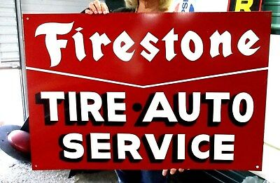 Vintage Large FIRESTONE TIRE AUTO Truck Tractor Oill Sign Hand Painted