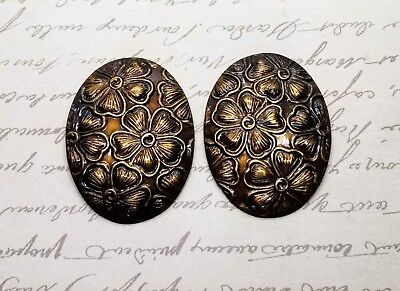Large Antiqued Brass Oval Dogwood Stampings (2) - ANTRAT4965